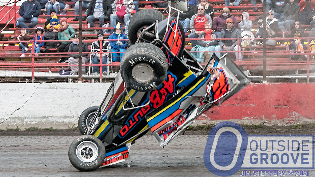 Dusty Ballenger: Lapped Car Sent Him for a Tumble